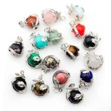 Vente en gros naturel boule ronde gemme pierre perles argent plaqué mains paume colliers pendentifs Reiki Chakra guérison femmes hommes bijoux