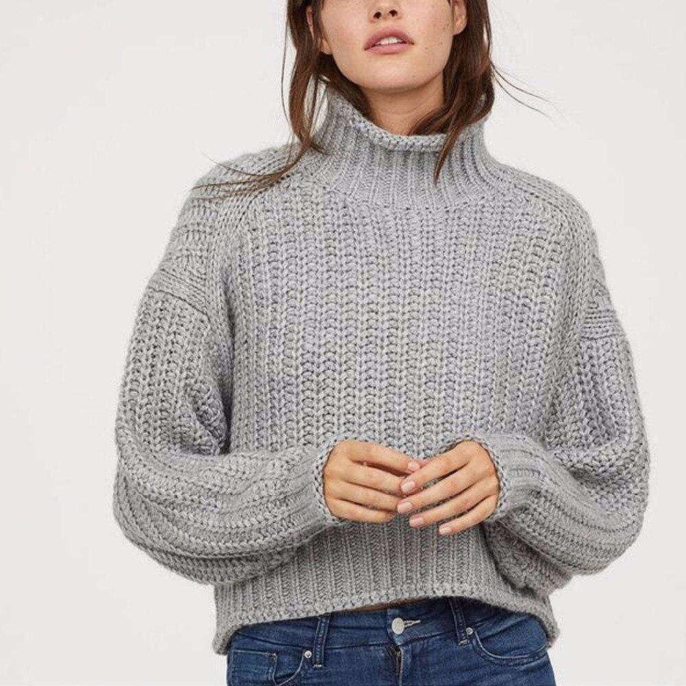 Nuevo suéter de invierno para mujer, moda 2019, suéter de cuello alto liso informal holgado Vintage cálido, Jersey de punto de manga larga, suéteres
