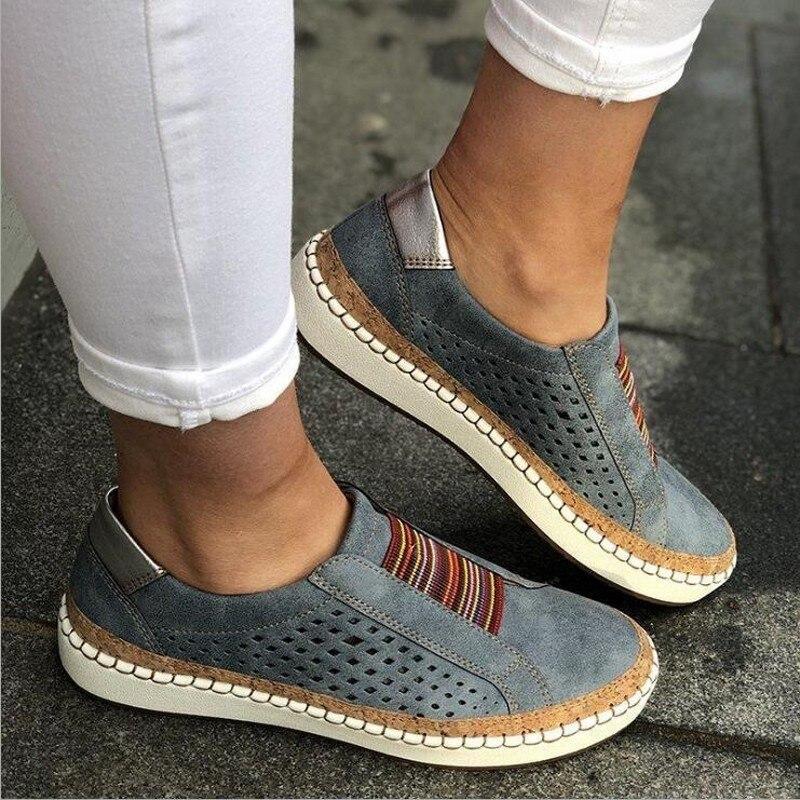 Women Loafers 2019 Leather Casual Shoes Women Slip-On Sneaker Comfortable Loafers Women Flats Tenis Feminino Zapatos De Mujer