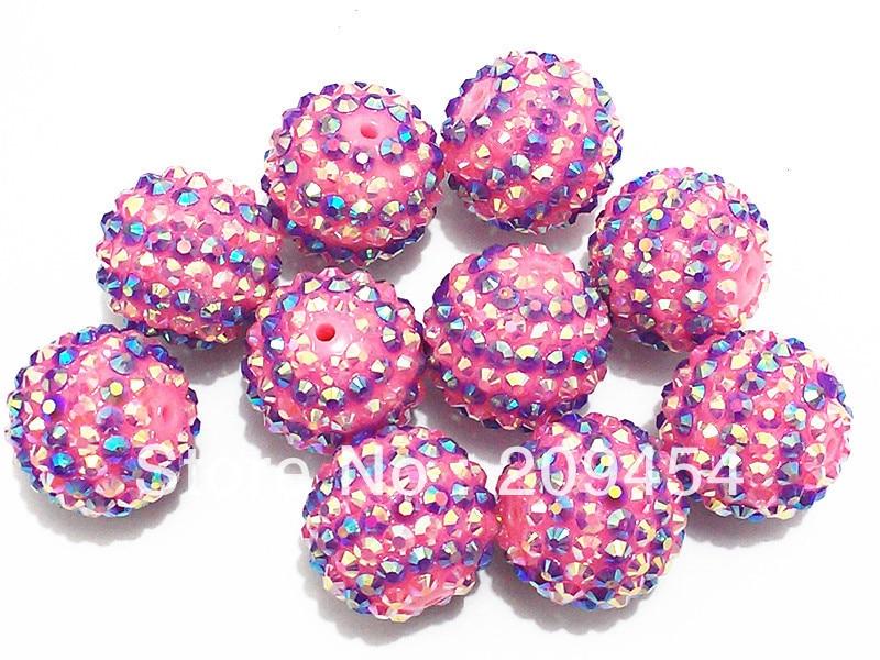 22mm 100pcs/lot Pink With Purple Stripe Resin Rhinestone Beads