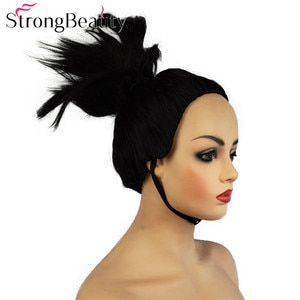 StrongBeauty Short Synthetic Straight Black Hair Wig Women Cosplay Wigs Top Hair Upright