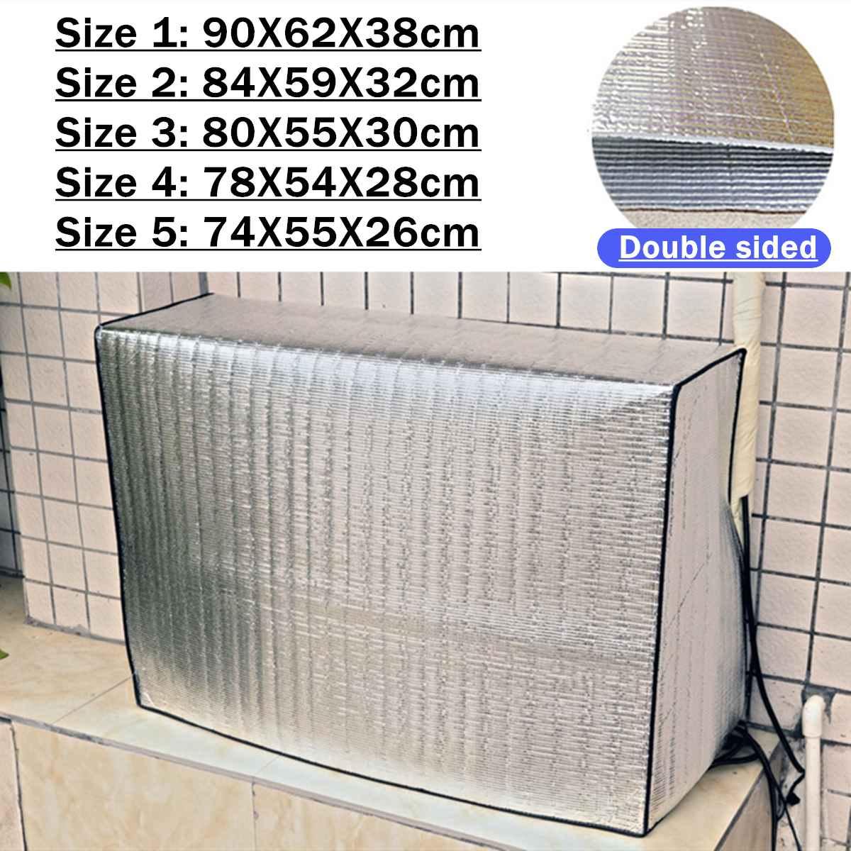 5 tamanhos Ar Condicionado Tampa Protetora Contra Poeira Protector Frente E Verso Capa Ao Ar Livre Sunproof Limpar Capa Protetora À Prova D Água Externa