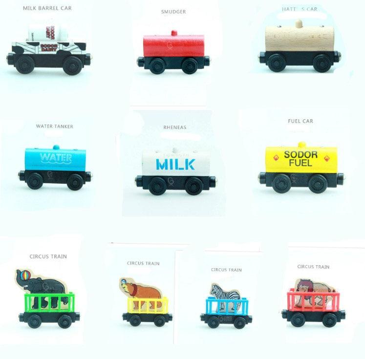 EDWONE קטר רכבת מעץ מגנטי רכבת עץ מכרז Chrismas אביזרי רכב צעצוע לילדים Fit בירו מסלולים מתנות