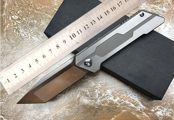 VOLTRON New folding knives D2 Satin blade ceramic ball bearing washer TC4 handle flipper Tanto knives Hunting knife EDC tools