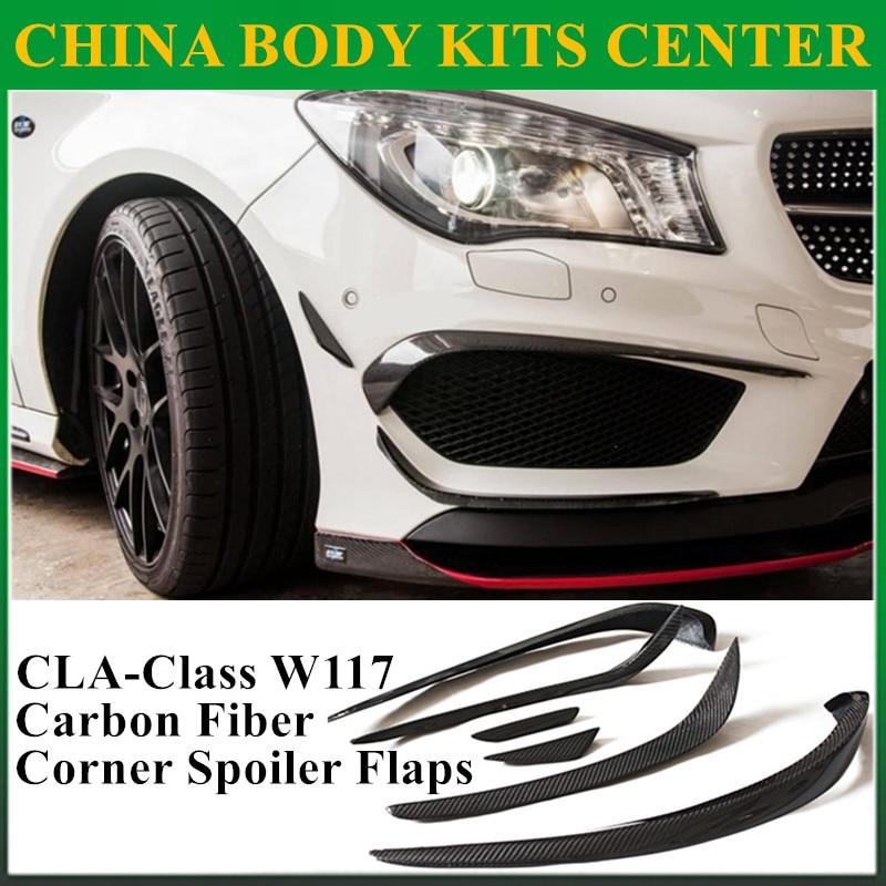 Mercedes CLA fibra de carbono frontal labio Splitter aleta Canard para Benz W117 CLA45 AMG CLA180 CLA200 CLA250 (se adapta a coche deportivo, AMG)