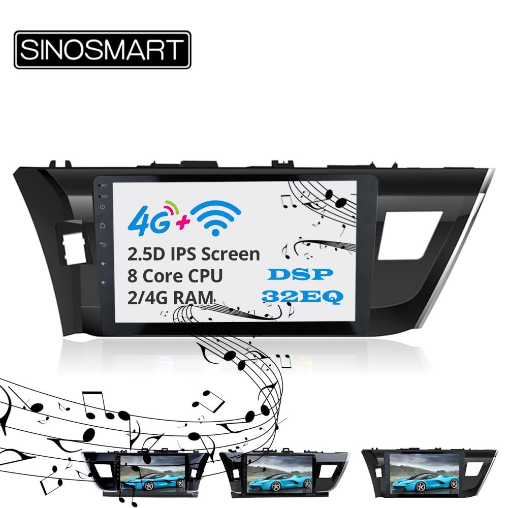 Sinosmart Android 8,1 2Din IPS/QLED 2.5D pantalla gps para coche reproductor de navegador de radio para Toyota Corolla 2014 conducción derecha/izquierda
