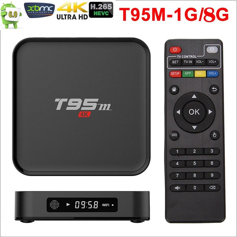 Amlogic corriente T95M Android TV Box 1G/8G 2G/8G reproductores de medios 2,4G WiFi Amlogic S905X 16,0 Android 6,0 Quad Core H.265 4K TV caja