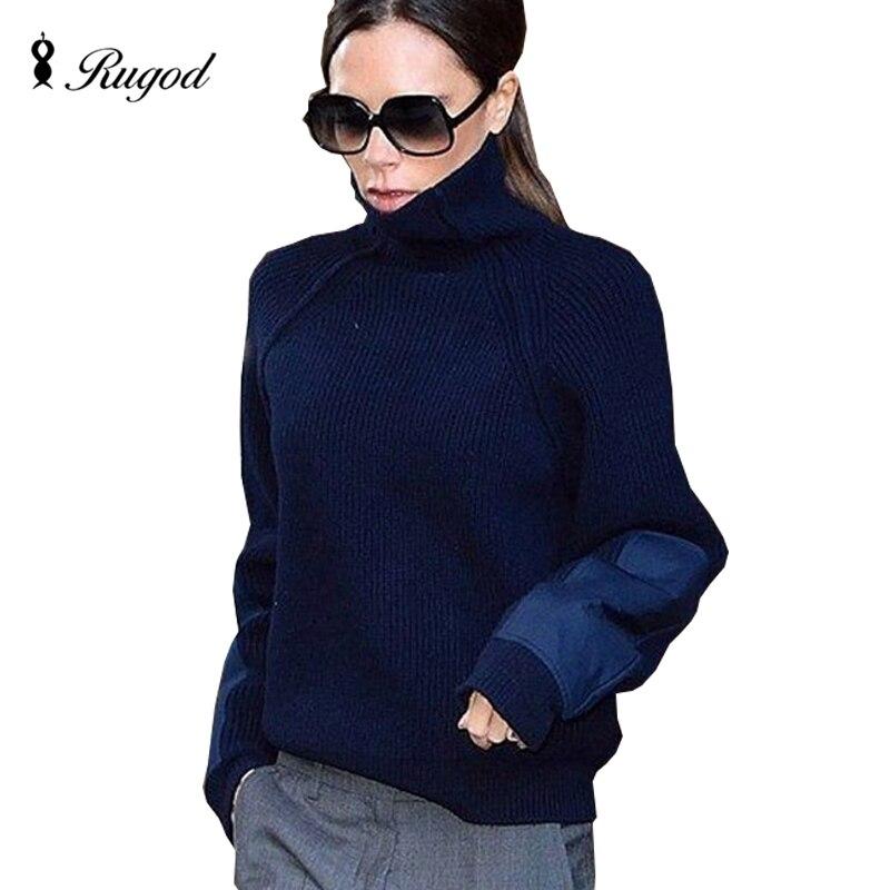 RUGOD 2019 Vintage suéter de punto de cuello alto para mujer Vintage patchwork otoño jerséis de abrigo para invierno suéter Pull Femme Basic coat