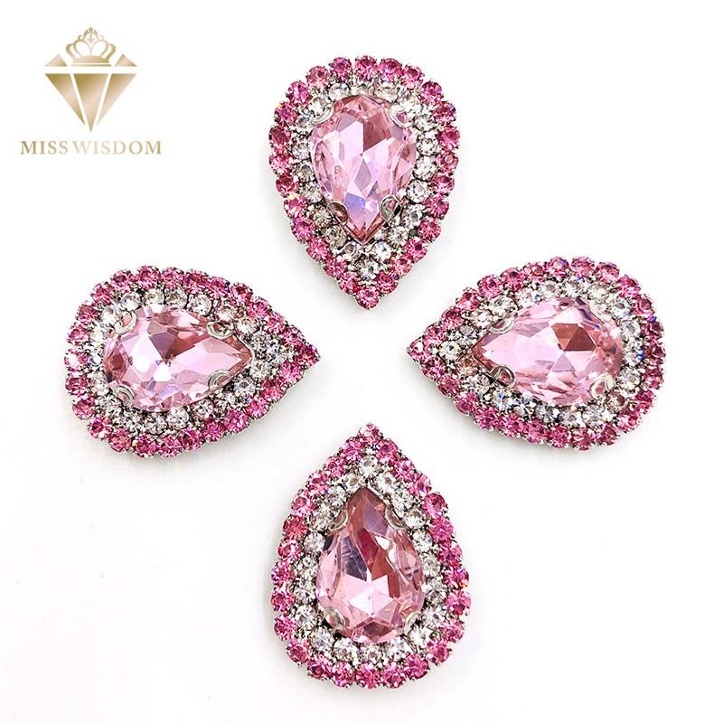 10X14mm Pink glass stass Double row chain Surrounding teardrop sew on rhinestones crystal buckle Diy jewelry accessories