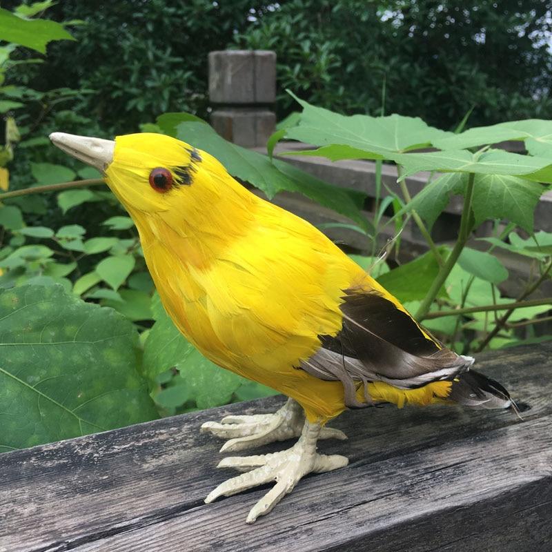 21*8*14CM Artificial Orioles ,Real Feather Bird In Yellow,Craft Foam Bird Ornement For Party Supplies,Garden Decor Wedding Favor