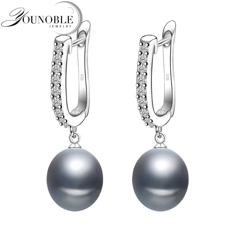 Agua Dulce perla gris pendientes para las mujeres clásico de Plata de Ley 925 aretes para regalo de cumpleaños
