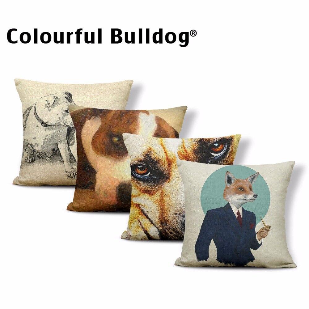 Funda de almohada creativa de toro Terrier funda de almohada de zorro de vino rojo bóxer perro gato hogar sofá almohadas decorativas