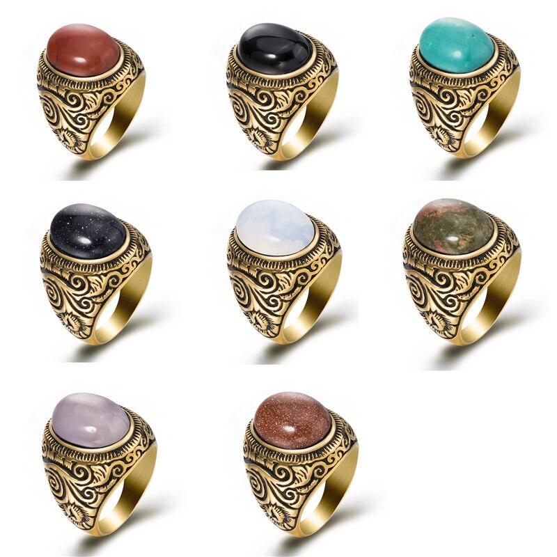 Bague homme femmes Turquoises ovales naturelles Onyx noir pierre de lune or acier inoxydable bijoux taille 8-13
