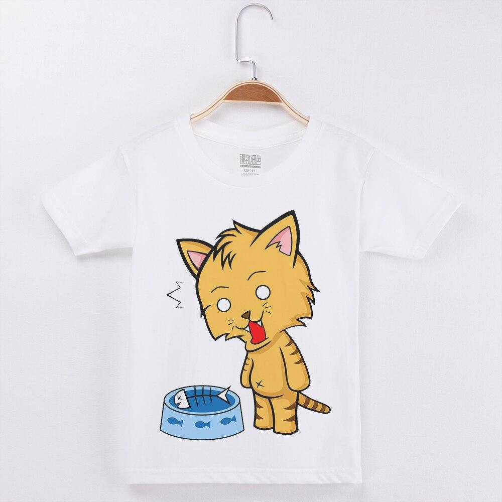 Funny Cat Kids T Shirt White Tshirt O-Neck Short Sleeve Cotton Cartoon Print Fashion Popular Girls T-Shirt Children Boy Tops Tee недорого