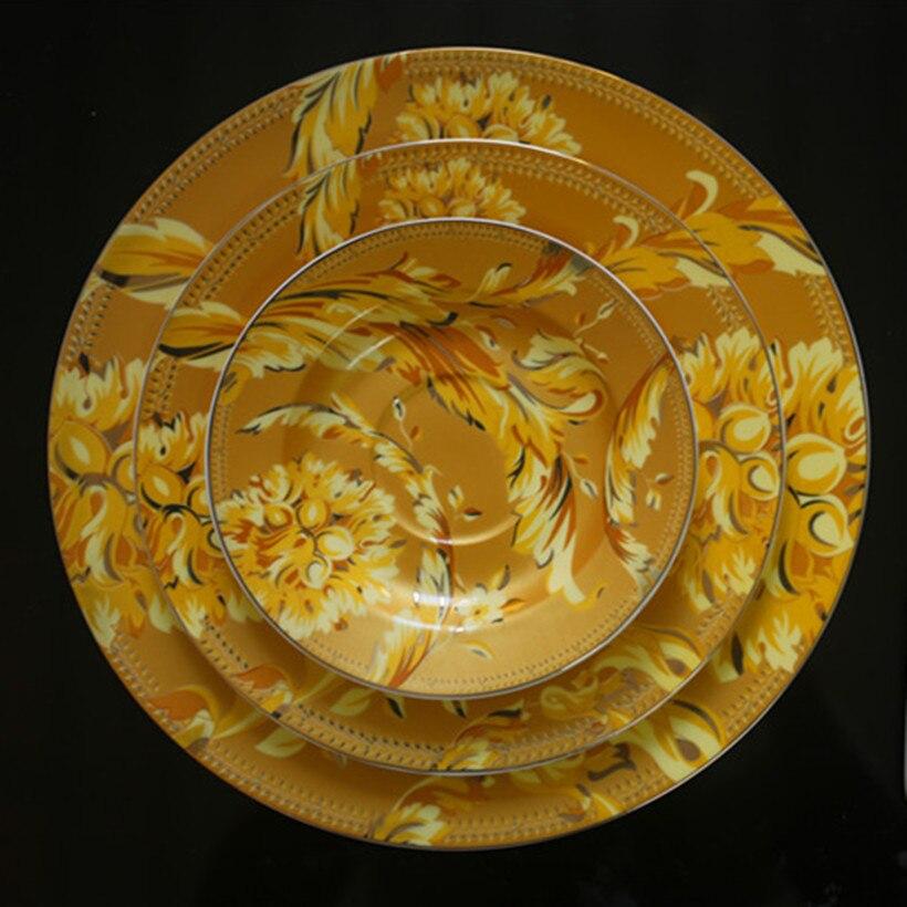 طقم أواني طعام من البورسلين الأوروبي الفاخر ، عظم فينيكس الذهبي ، جينغدتشن ، صحن إله الشمس ، ديكور منزلي ، لوحة معلقة