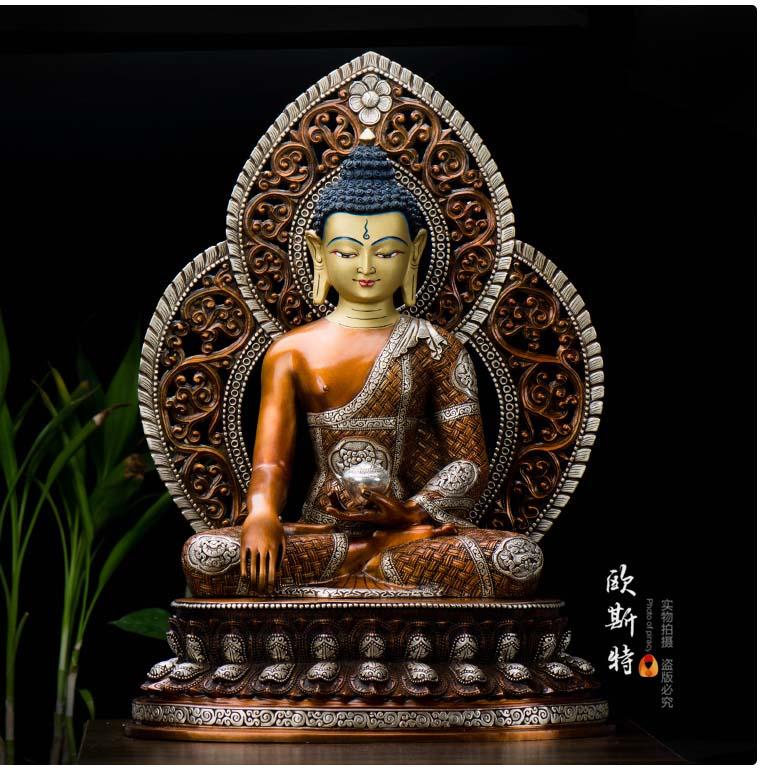 Estatua de Buda Sakyamuni de 50 CM, grande, de gran calidad, buena familia de Buda, plateado, protección efectiva, Nepal