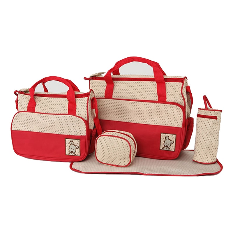 5Pcs/set Diaper Bag Suits For Mom Baby Bottle Holder Mummy Trolley Pram Nappy Bag Stroller Maternity Nappy Bag Sets