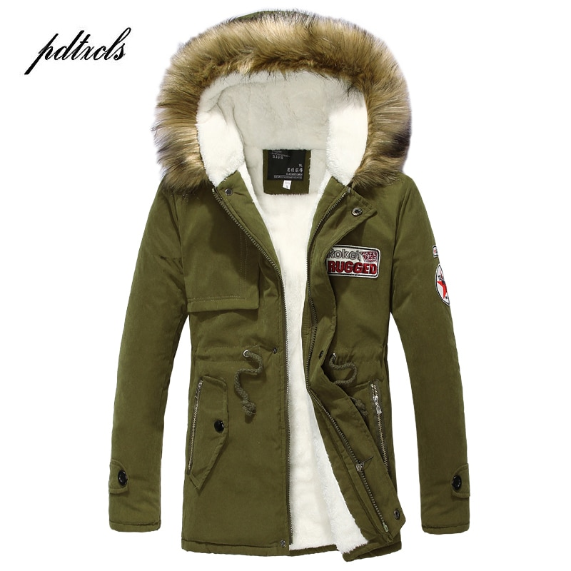 Hot Embroidery Letters Winter Long Parka Men Casual Slim Fit Hooded Winter Cotton Lovers Coats Mens