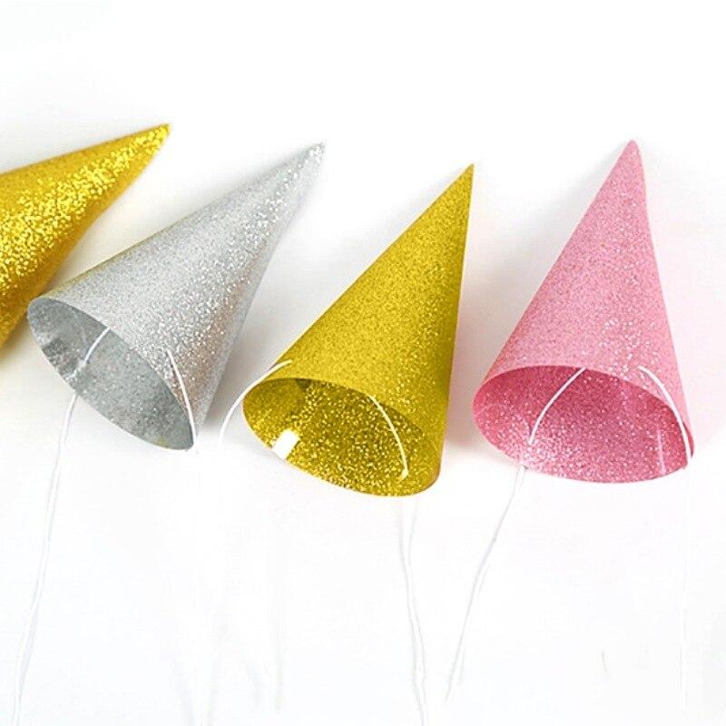 Sombreros en forma de cono de cumpleaños brillante con cordón de corbata para decoraciones de fiesta de boda para niños y adultos suministros de aniversario 12 unids/set