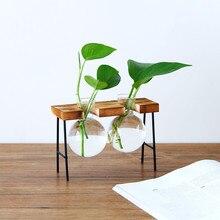 Vase Decoration Home Modern Fashion Vase For Wedding Decoration Creative Hydroponic Transparent Wooden Frame Coffee Shop K524