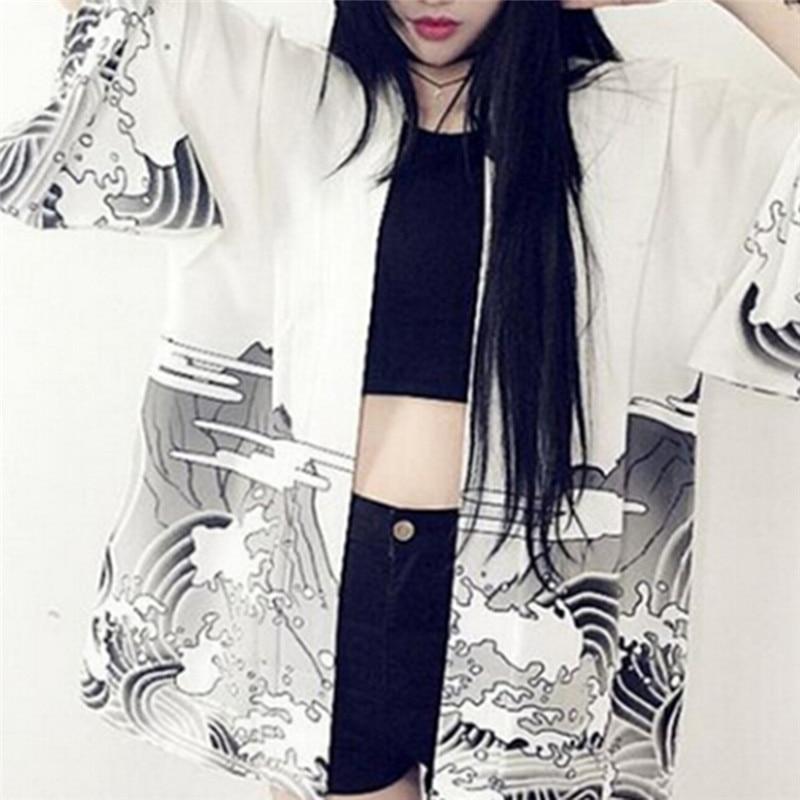 Vintage Dragon Waves Printed Chiffon Sun Protection Cardigan Kimono Outerwear sun shirt summer women clothing outerwear