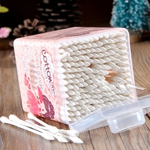 200pcs/Lot Women Beauty Makeup Cotton Swab Double Head Cotton Buds Make Up Wood Sticks Nose Ears Cle