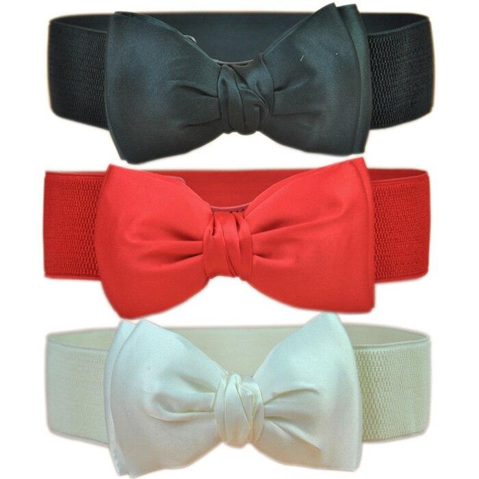 Las mujeres dama Bowknot elástico arco ancho elástico Bukle cintura cinturón de moda Venta caliente mujer cinturón AA