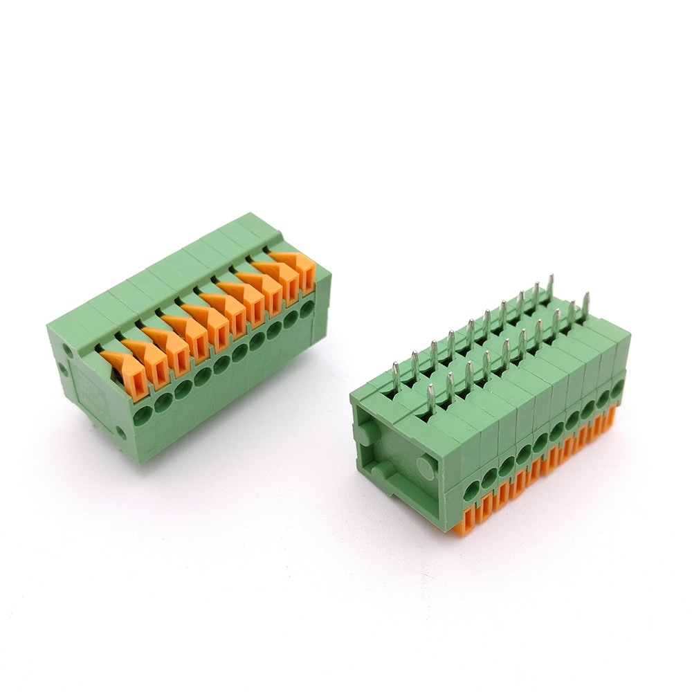 50PCS 2.54mm Pitch Spring Terminal Blocks Connector 2/3/4/5/10-20P KF141R Straight Pin Green Environmental Protection 150V/2A