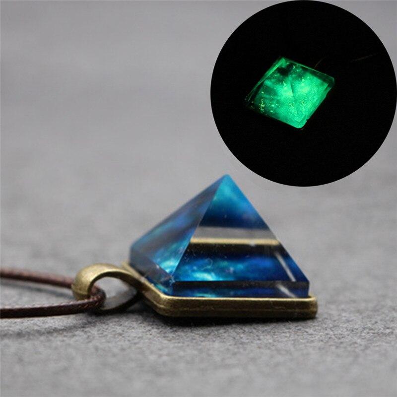 Estilo Vintage ensueño cielo estrellado cielo luminoso COLLAR COLGANTE de cristal pirámide collar Cosplay joyería de moda