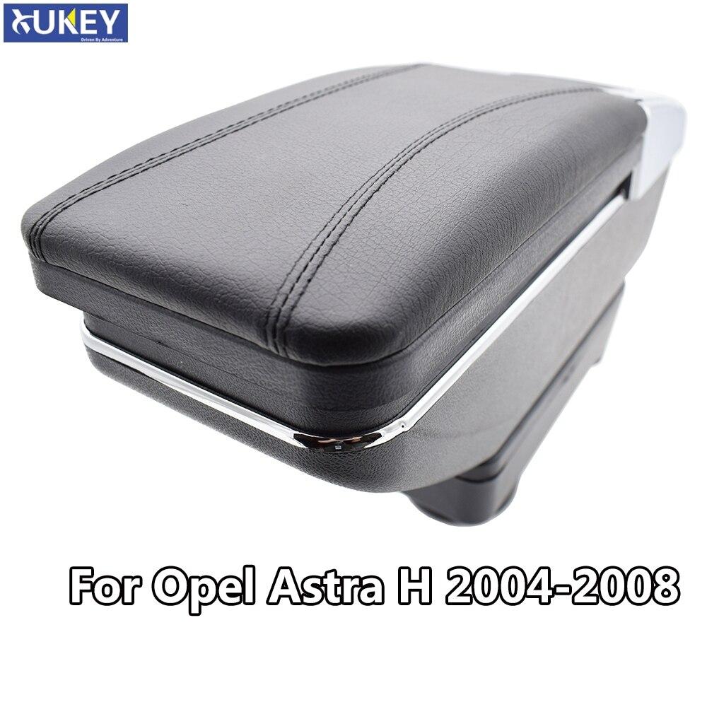 Caja de almacenamiento para Opel Astra H 2004-2014, reposabrazos con contenido de reposabrazos, Cenicero giratorio de cuero negro 2009