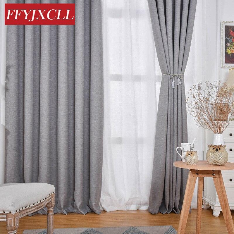 Cortinas opacas modernas gruesas de Color sólido 90%, Cortinas de tela de lino de algodón gris, Cortinas para sala de estar, dormitorio, cocina
