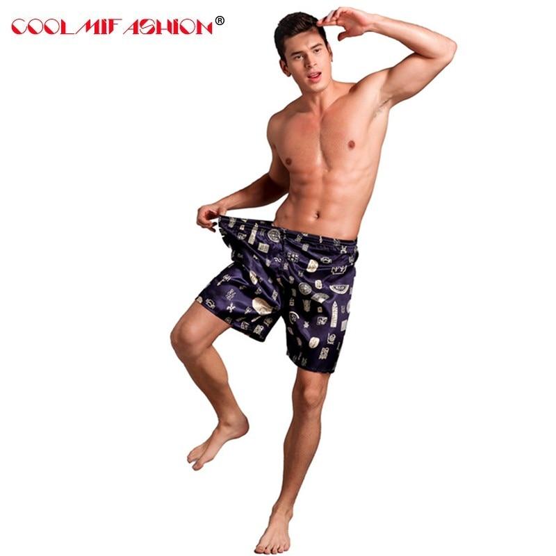 Men's Satin Silk Boxers pijama hombre Short Trousers Shorts Combo Pack sexy Underwear Pajamas For Men Satin Silk Sleep Bottoms