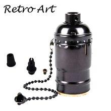 Livraison gratuite Loft Vintage rétro douille de lumière Antique métal support de lampe avec interrupteur à fermeture éclair E27/E26