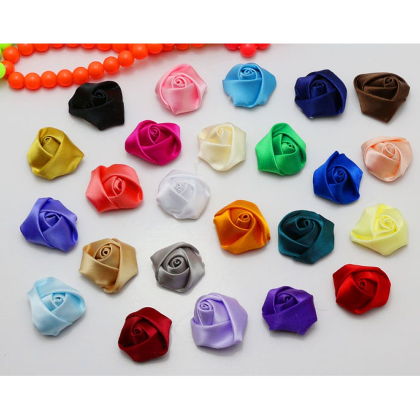 NEW 100pcs/Lot Mini Flower Bud Satin Ribbon Rose Flower DIY Craft/Brooch/Doll/Dress/Wedding Appliques