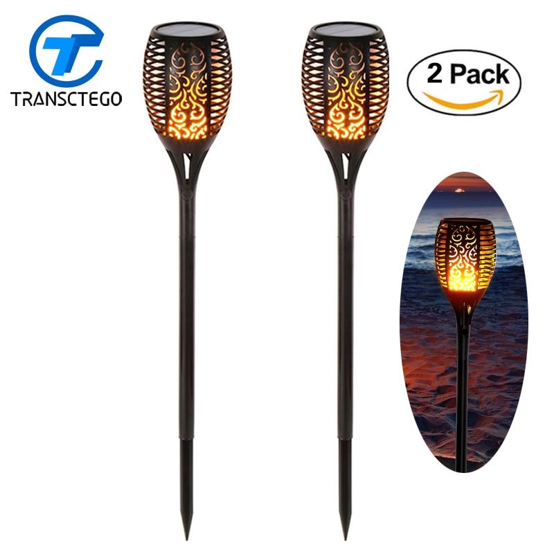 2 uds 96 LED parpadeante luz Solar Tiki antorchas llamas iluminación exterior para jardín sendero lámpara alimentada por energía Solar farolas