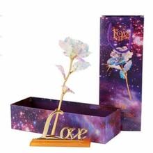 Eternal Crystal Gold Rose without Light Rose + LOVE Base +Photo Frame Base+ Line Light Rose Gift Box Valentines Day Gift