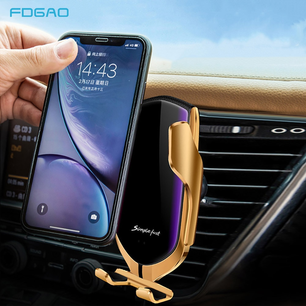 Cargador inalámbrico de coche para iPhone 11 XS Max XR X 8 Samsung S9 S10 Sensor infrarrojo automático Qi 10W soporte de teléfono de carga rápida para coche