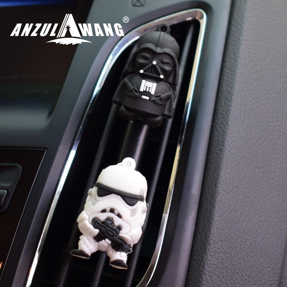 ANZULWANG Car Styling Air Freshener Car Air Condition Vents Decorative Cartoon Black And White Star War Car Air Outlet Perfume