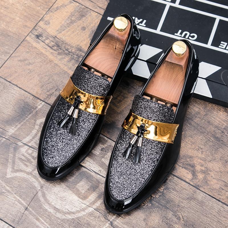 GUDERIAN Italienische Mann Hochzeit Schuhe Quaste Goldene Formale Schuhe Männer Luxus Mode Party Müßiggänger Leder Schuhe Männer Schoenen Mannen