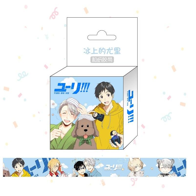 1.5 centímetros * 5 m Japonês Anime Yuri No Gelo Washi Fita Adesiva Fita Adesiva Fita de Scrapbooking DIY etiqueta da Etiqueta