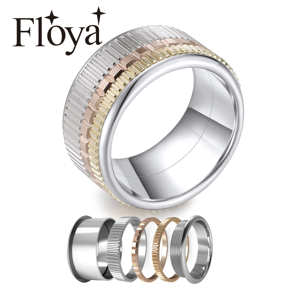 Floya Vintage Ringen In Ring Vrouwen Stapelbaar Gear Ring Verwisselbare Wedding Band Arctic Symfonie Collection Set Ring