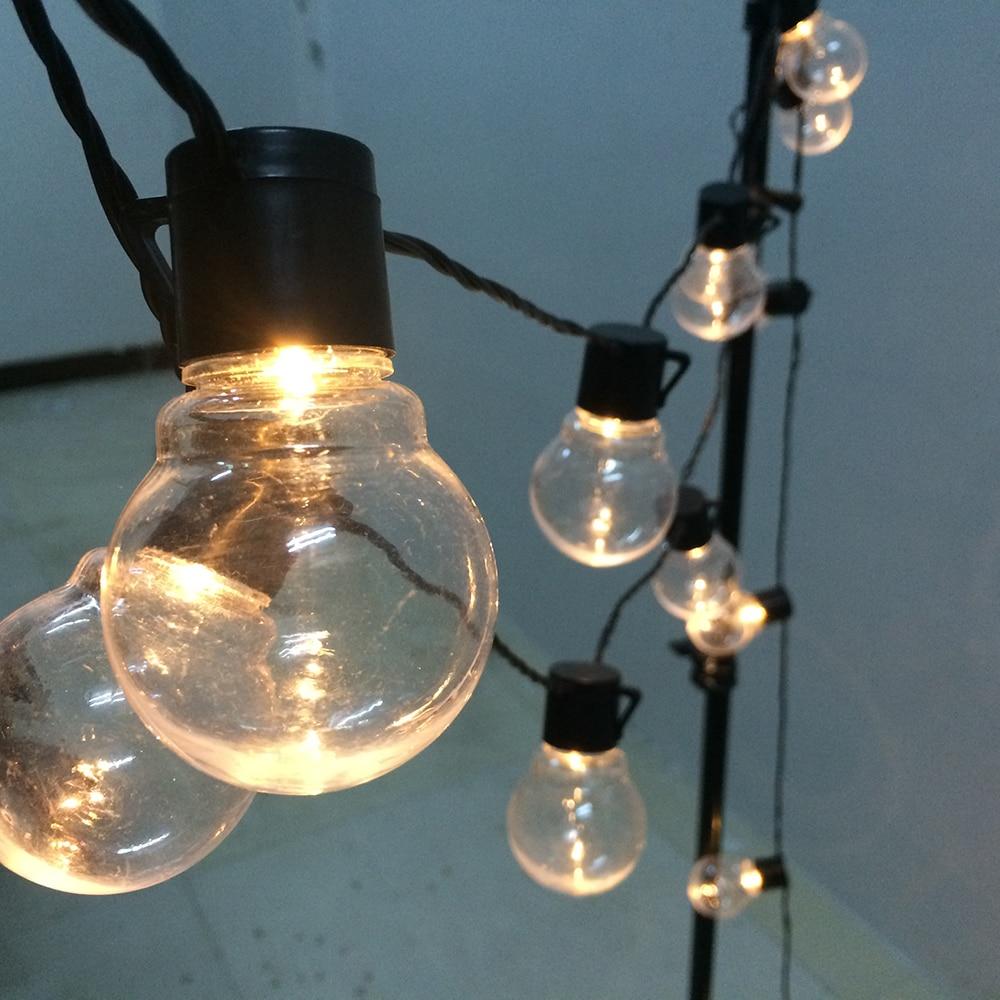 Светодиодная гирлянда с круглыми лампочками, Рождественская уличная Свадебная лампа, уличный праздничный садовый шнурок для патио, улично...
