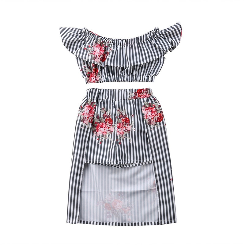 Tops de rayas y flores sin hombros para niñas + falda Maxi 2 uds conjunto de ropa de bebé conjunto de ropa de princesa para niñas conjunto de disfraz