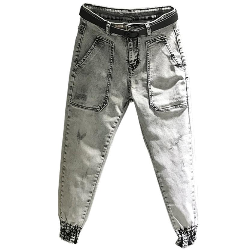 ¡Primavera otoño nueva moda gas humo gris beam pies jeans mujeres alta cintura tobillo longitud harem pantalones de talla grande 26-31!