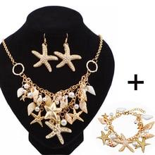 Lote de pendientes de caracol de mar de estrella de mar, conjunto de collar de pulsera, concha de perla doble, conjunto de joyas