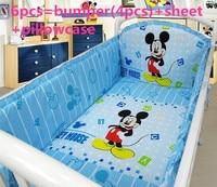 6PCS Cartoon bedding baby cradle crib bedding cama bebe baby comforter crib set include(bumpers+sheet+pillow cover)