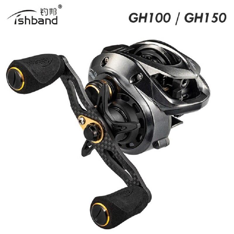 Nueva cinta de pesca GH100 GH150 carrete Micro-material agua 7,2 1 rueda de carbono Ultra-ligero lanzamiento dinámico carrete de línea de freno magnético