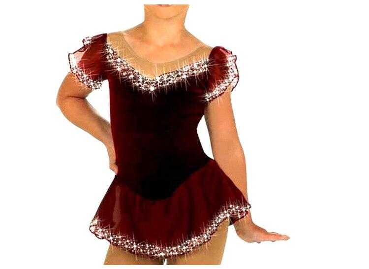 Vestido de patinaje sobre hielo/leotardo giratorio de bastón/Tap/traje de baile hecho para encajar