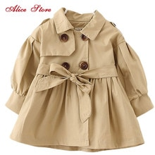 Alice Autumn winter children's clothing baby girl windbreaker fashion solid color top for 1-6Yrs old