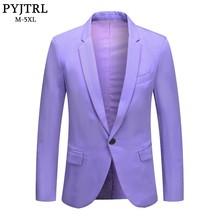 PYJTRL hommes mode grande taille lavande violet pomme vert Beige coupe ajustée jolie pochette manteau mâle Costume Mare Costume veste
